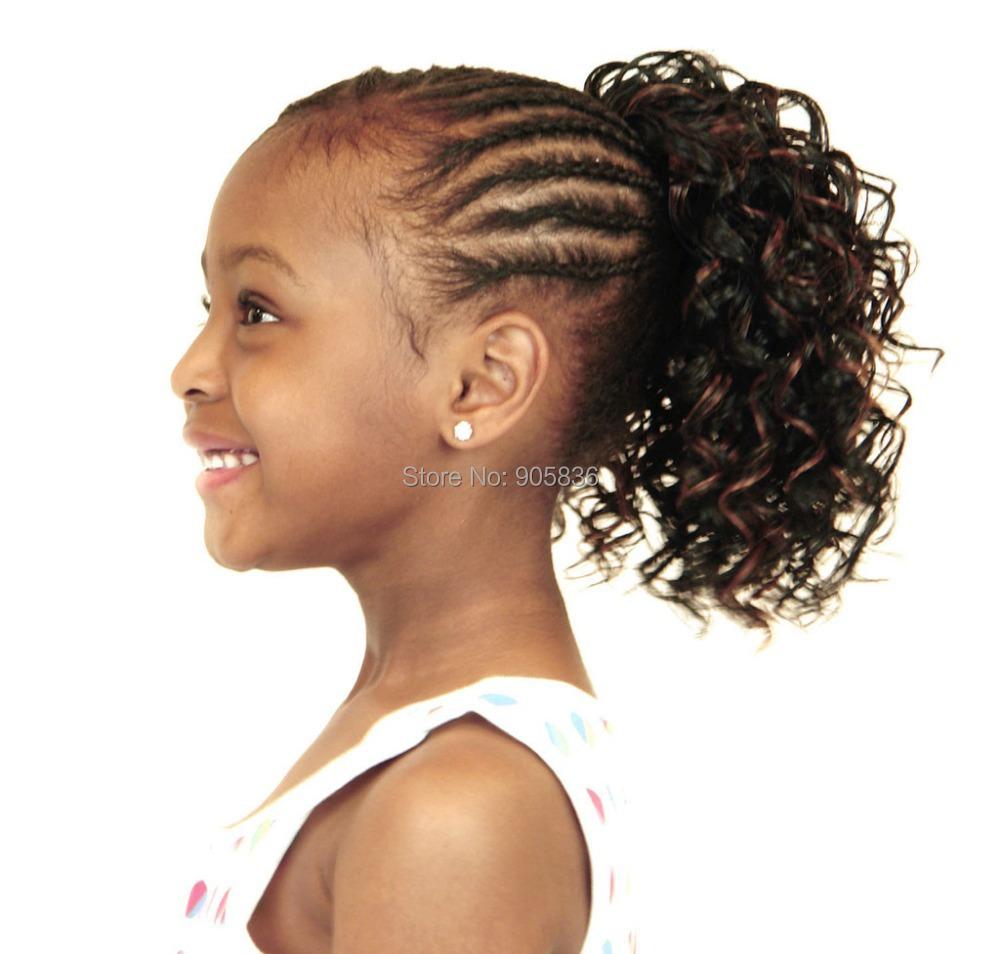 Beautiful Sleek Dark Golden Brown Afro Curly Kids Ponytail