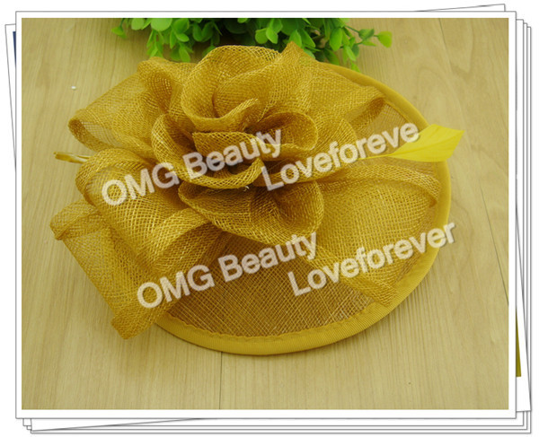Free shipping 16colors avaliable high quality fascinators nice feather hair accessories sinamay hats wedding headwear OF1507(China (Mainland))
