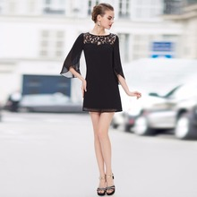 Sexy Fashion Black Half Sleeve Short Cocktail Dresses Special Occasion 2015 New Arrival Free Shipping AP05242BK(China (Mainland))