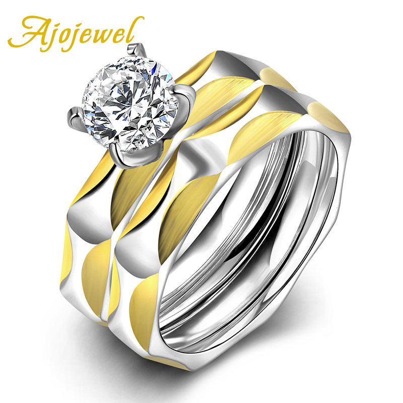 High Quality Individual European Style Fashion Zircon Jewelry Ajojewel Stainless Steel Brand Two Pieces Rings Set For Women(China (Mainland))