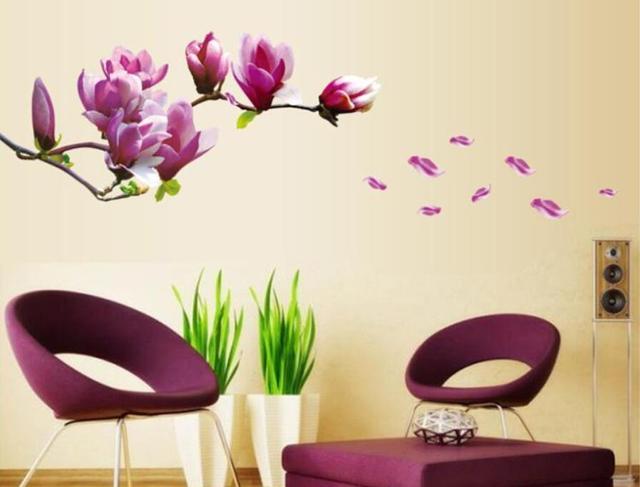 Роскошь 3D персик цветок 150 * 55 см спальня стена винил наклейка искусство своими руками для дома декор стена наклейки цветок