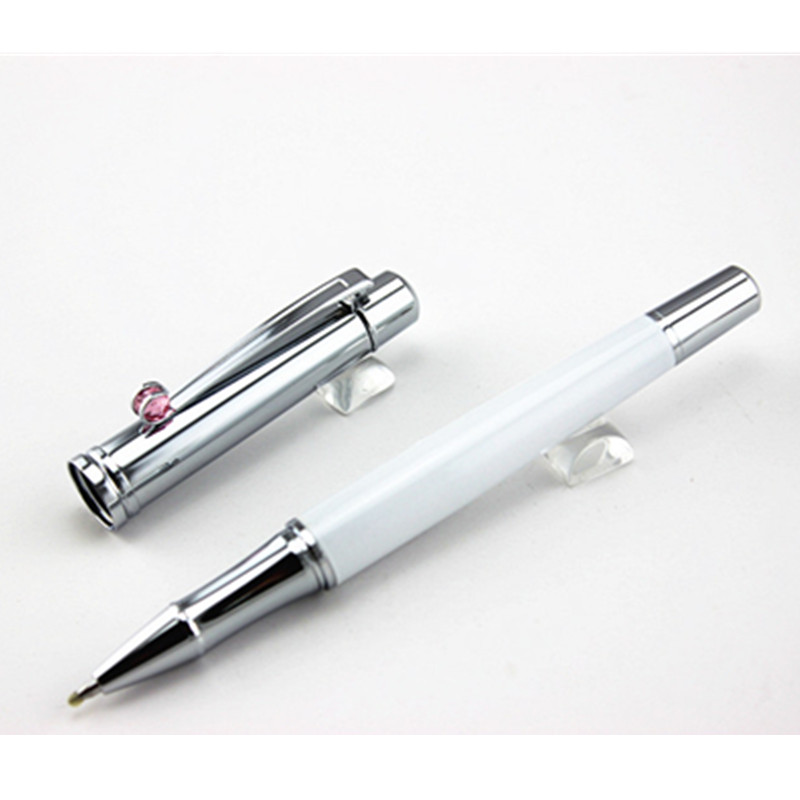 2PCS classic white Pen And precious stones Roller Ball Pen Stationery Supplies Metal Writing Pen caneta For gift(China (Mainland))