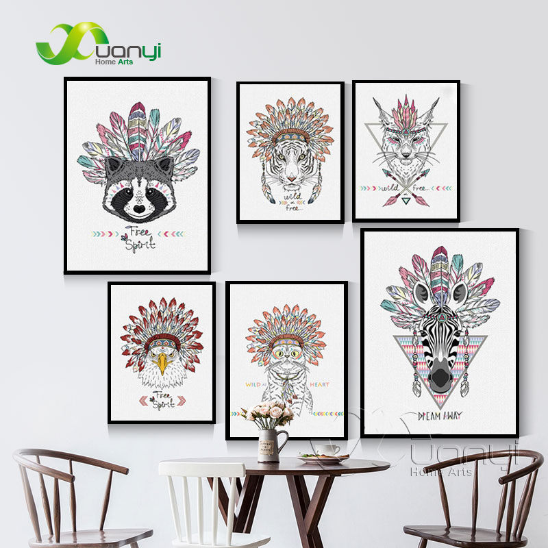 Nordic Indian Animals Head Hippie Fashion Deer Horse Zebra Art Print Poster Wall Pictures Canvas Print Unframed BEI0005(China (Mainland))