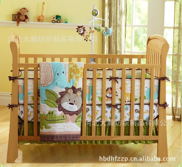 African Forest Lion Pattern Baby Bedding Set 100% Cotton Embroidery 7 Pieces Crib Bedding Set Quilt Bumper Skirt Mattress Cover(China (Mainland))