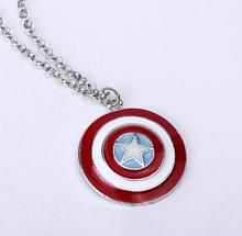2015 New Hot Movie Film Jewelry American superhero Captain America Shield Pendant Necklace logo jewelry Star