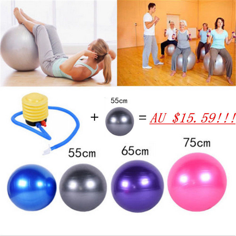 55/65/75 Exercise Ball GYM Yoga Fitness Pilates Balance Ball Aerobic w/Air Pump(China (Mainland))