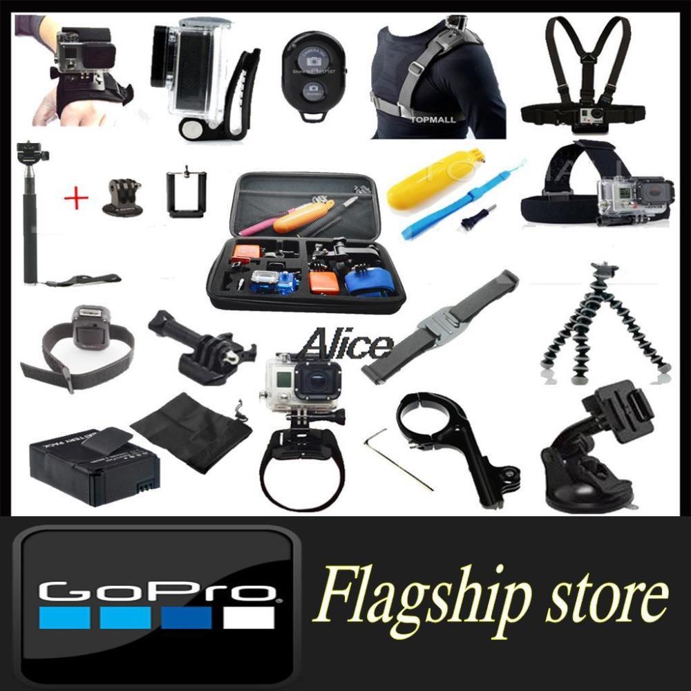Gopro Accessories Kit Set Monopod Bobber Tripod Helmet Chest Head Strap Wifi Remote Belt Go pro Hero 3 & Sj4000 Sj5000 - Smart Living Center store