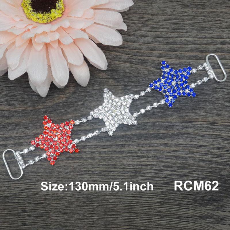 30pcs 5.1inch July 4th red/white/blue star rhinestone connector Bikini Connectors Crystal connectors  RCM71