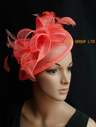 Coral orange pink sinamay fascinator hat with sinamay twist&feather for Wedding,Ascot Races,Party,Kentucky Derby,Melbourne Cup.(China (Mainland))