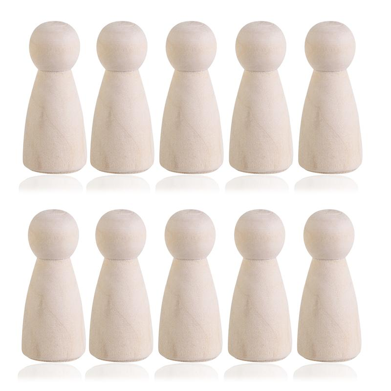 10pcs Wooden Women Peg People Nesting Set Peg Dolls Crafts DIY Toy Creative Kid'S Printe Party Favor Wedding Home Decor(China (Mainland))