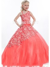 Buy Lovely One Spaghetti Strap Lace Flower Girl Dresses 2016 Coral color Little Girls Pageant Dress New Organza Kids Ball Gown S&T11 for $81.00 in AliExpress store