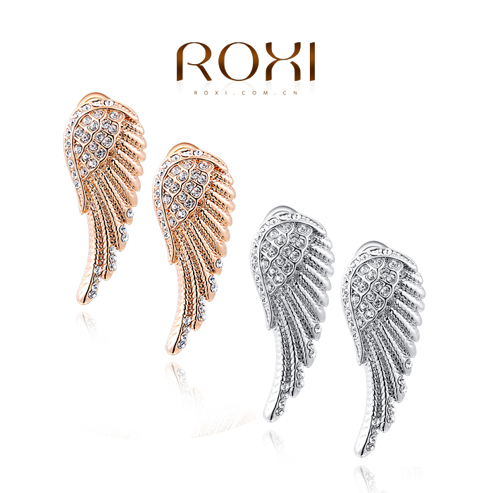 8.25 Sales ROXI Wing Earrings for women Crystal Strong Wing Earrings Accessories Rose Gold Plated Trendy fashion Jewelry(China (Mainland))