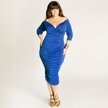 Women Plus Size Dress 2014 Wholesale Price Fashion Perple Sexy V-neck Fat Women Dress Casual XXL W846074