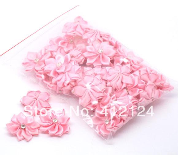 250Pcs Pink Ribbon Rhinestone Flowers Wedding Party Scrapbooking Decorative Flowers & Wreaths 30mm(China (Mainland))