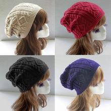 Unisex Women Men Winter Warm Ski Knitted Crochet Baggy Beanie Hat Cap New Hot Selling(China (Mainland))