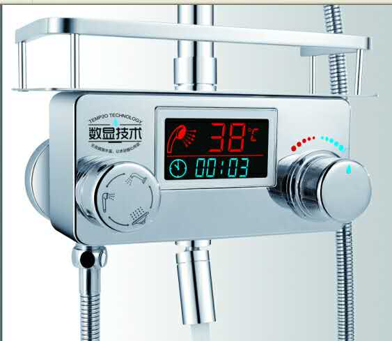 Digital Shower Mixer Tap With Display With Shelf Bathroom Digital Bathroom Shower  Faucet Shower Panel Controller