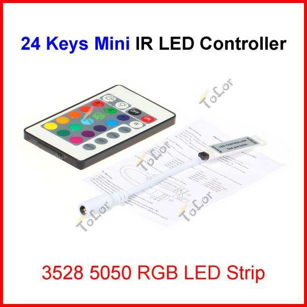 ( 50 pcs/lot ) 24 Keys Mini Wireless IR Remote RGB LED Controller For 12V 3528 5050 RGB LED Strip Wholesale<br><br>Aliexpress