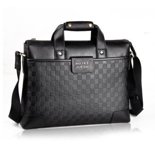 2014 NEW Men business handbag fashion plaid computer shoulder bag pu leather messenger bag 8988-5<br><br>Aliexpress