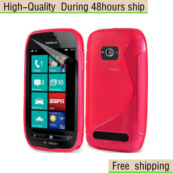 New Soft TPU Gel S line Skin Cover Case For Nokia Lumia 710 N710  Free Shipping UPS DHL EMS HKPAM CPAM
