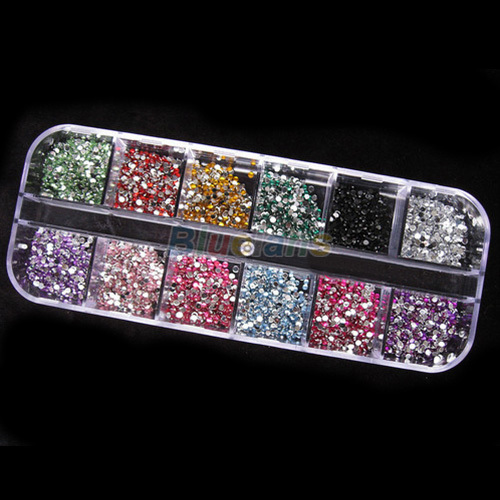 500pcs Round 2MM Rhinestore Decoration with Hard Case for Flase Nail Nail Tips Nail Art Acrylic UV Gel Nail 01ZY(China (Mainland))