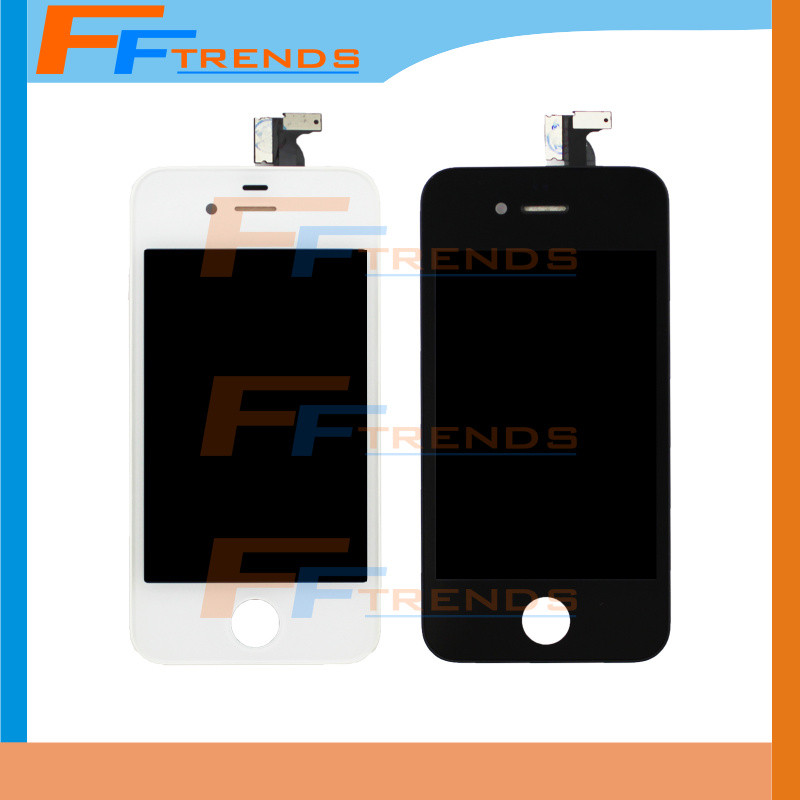 100pcs/lot OEM Top Quality AAA No pixel for iPhone 4 lcd screen with touch screen digitizer assembly Free DHL Black White Color(China (Mainland))