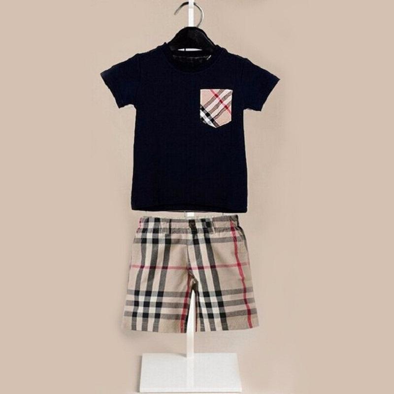 High quality 2pcs boys clothing set summer style 2015 new brand short sleeve t shirt + plaid pants kids clothes sets(China (Mainland))
