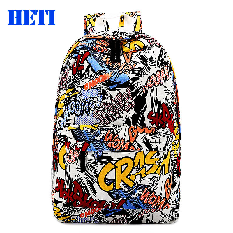 Men's backpacks 2015 new summer fashion shoulder bag women canvas backpack schoolbag mochila Graffiti unisex rucksack wholesale(China (Mainland))
