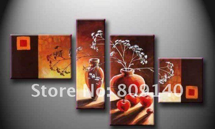 Free shipping oil painting on canva abstract dark color for Dining room wall art canvas