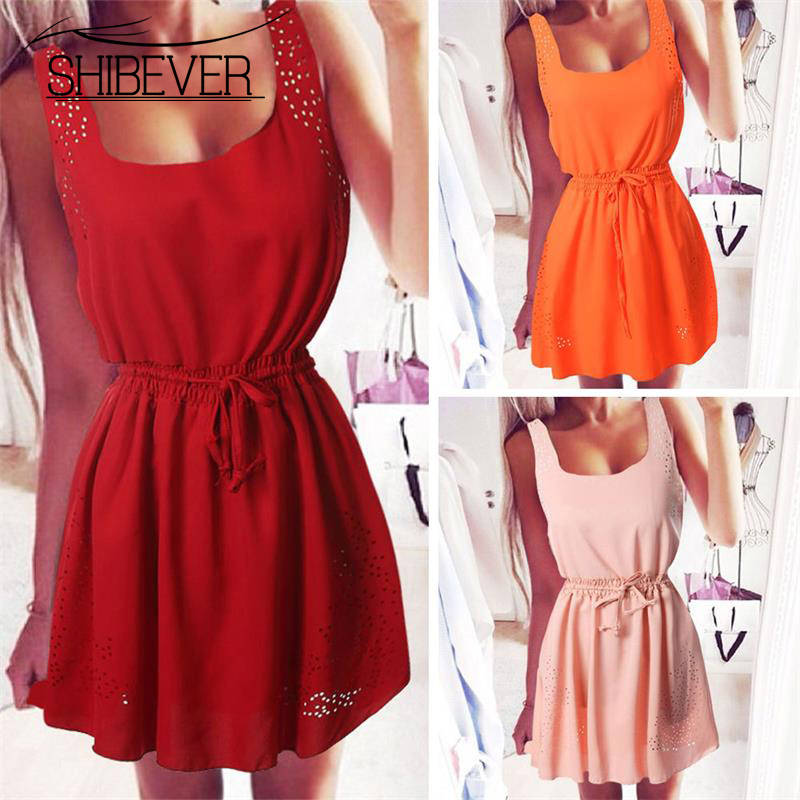 SHIBEVER 3XL Beach Party Girls Dresses Plus Size Fashion Sleeveless Sexy Mini Dress Ladies 2017 Summer Women Dress CLD170(China (Mainland))