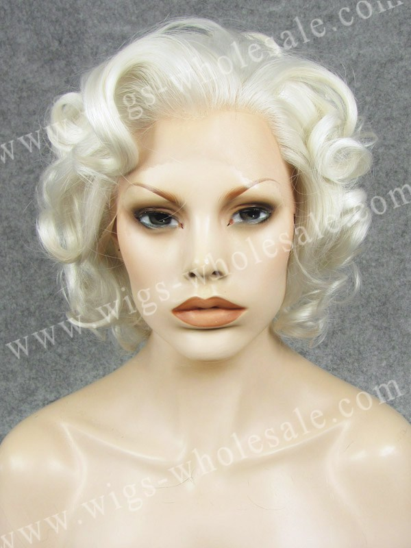 silk top lace front wig short  curly white Synthetic Lace Front Wigs N24-1001<br><br>Aliexpress