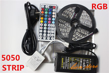 5M RGB Led Strip 5050 Non-Waterproof 60LED/M DC12V LED Strip Light 300 LEDs+44 Keys Remote Controller+12V 5A Power Adapter(China (Mainland))