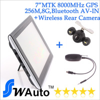 7 inch GPS Navigation System+ wireless night vision car rear view camera,car gps navigator bluetooth+AVIN+FM+256M+8GB+800MHz