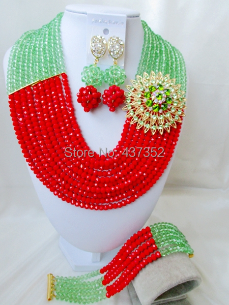 Well Made Light Green Opaque Red Crystal Costume Necklaces Nigerian Wedding African Beads Jewelry Sets NC626(China (Mainland))