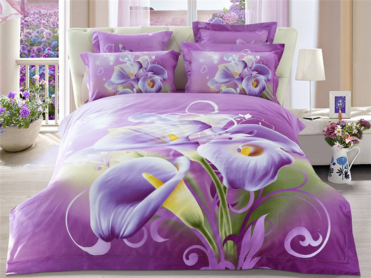 New Arrival 4 Piece Purple Calla Lily Bedding sets 100% Cotton 3d Flowers Print Duvet Cover Bed Sheet Pillow case Queen size(China (Mainland))