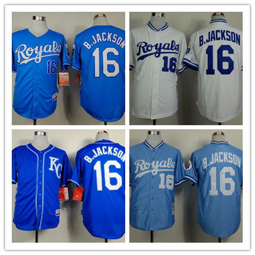 Top quality Men's #16 Bo Jackson blue,white throwback,cool base jerseys by stitched,cheap Kansas City Royals retired Jerseys(China (Mainland))