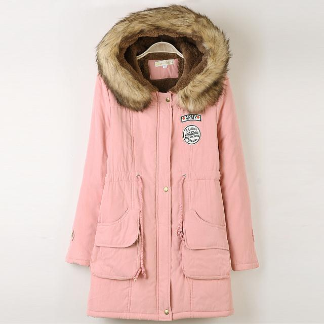 Скидки на 2014 hot sales Lamb thick hooded coat collar ovo Girls long section of Korean women jacket Autumn 2014 new winter coat tide