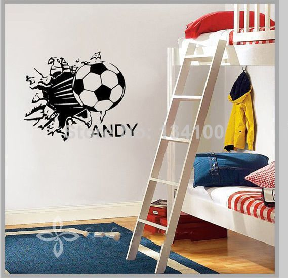 Customer made football sport wall decals personalized name for Sports decals for kids rooms