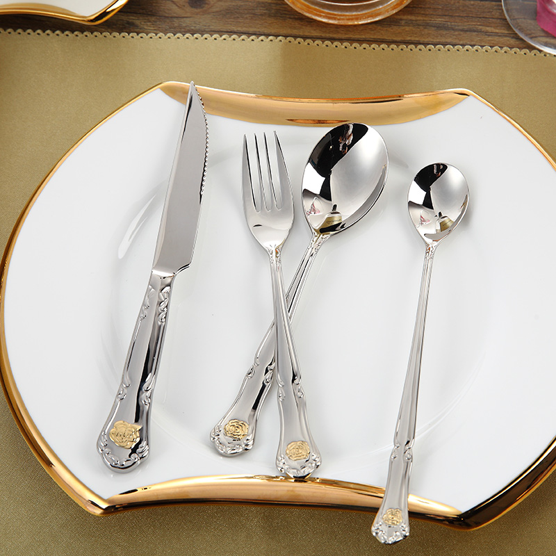 New Arrival Gold Plated Rose Stainless Steel Flatware, Genuine Western Style Dining Cutlery Set 24 pieces,Luxury Tableware(China (Mainland))
