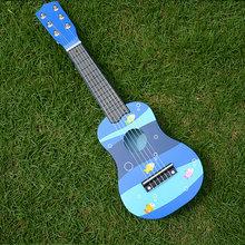 Hot ! Educational Toys Creative music instruments can play Cartoon small wooden guitar color random(China (Mainland))