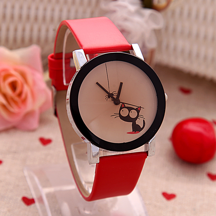 High quality Fashion Simple Women Casual Watch Little Cat Pattern wristwatch for Girl Students Quartz cartoon watch clock hours(China (Mainland))