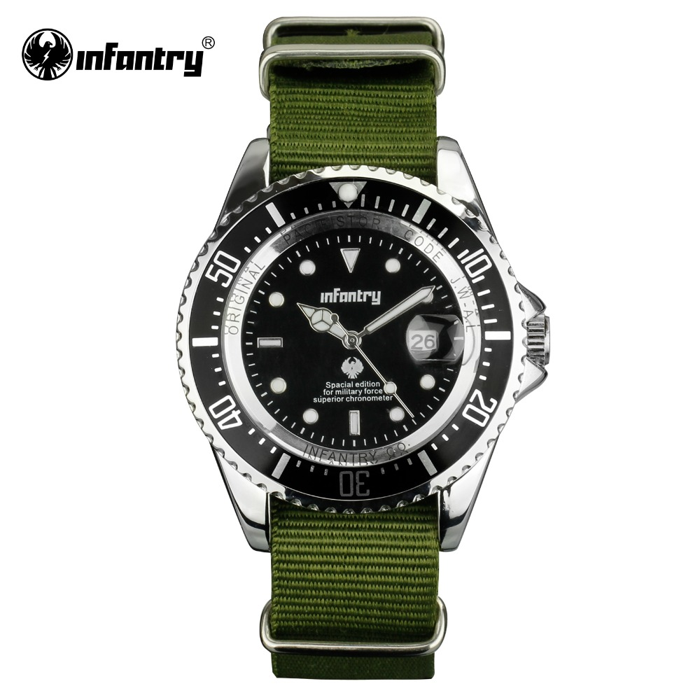 INFANTRY Men Quartz-watches Green Durable G10 Nylon Fabric Military Watches Relojes Auto Date Luminous Sport Watches Male Clock(Hong Kong)