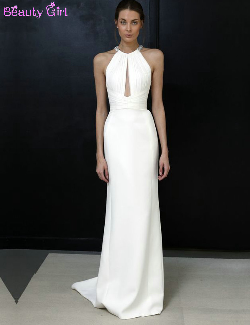 Fashion Design Halter Sleeveless Straight Long White Evening Dresses 2016 Formal Evening Gowns(China (Mainland))