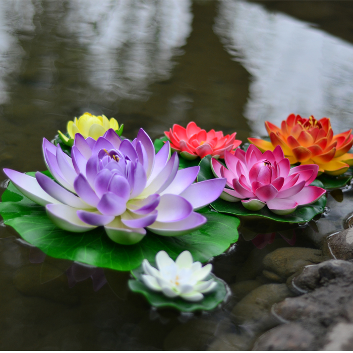 EVA Artificial flowers Simulation of lotus water lily flower artificial plants decoration floral fake flowers 10cm Free Shipping(China (Mainland))