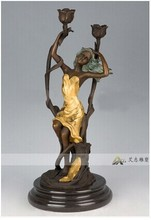 Europe style home decor woman figurine bronze christmas candle holder sculpture wedding decoration candle holders centerpiece