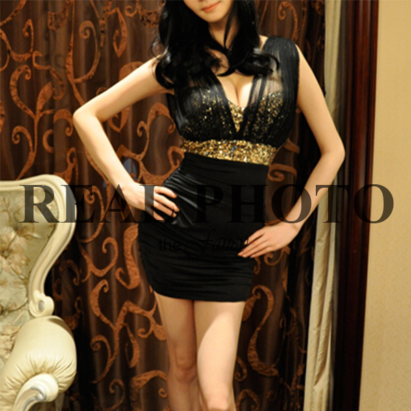 REAL PHOTO Glitter Sequin Mesh Dress gold black Bodycon Ruched Mini women Sexy Party summer 2015 vestidos casual free shipping