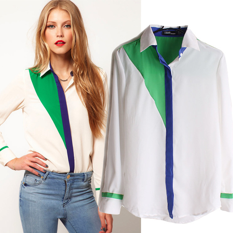 2015 New Women 39 S Office Tops 2015 Korean Fashion Style Contrast Color Collar Long Sleeve Chiffon