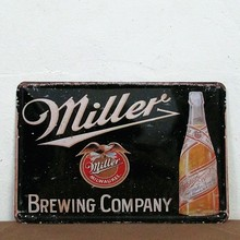 Miller Beer Vintage Metal Signs Tin Plate Sign Bar Mural Decoration Art Wall Poster Free Shipping 30*20cm(China (Mainland))