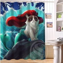 2015 NEW style Custom Bad tempered cat waterproof seaside scenery Shower Curtain 60 inch x 72 bathroom decoration - DIY Jerry Home store