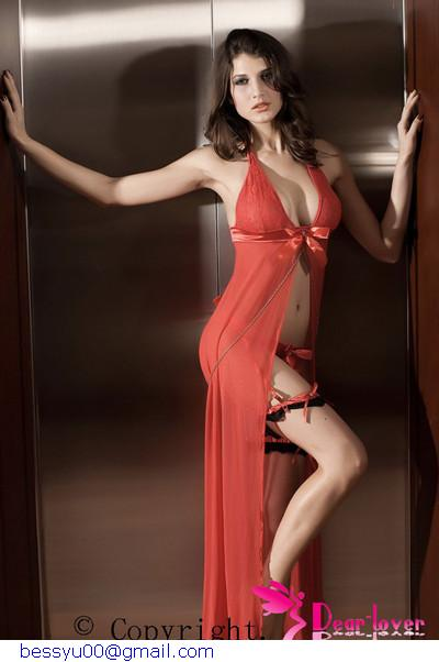 sexy long sleepwear,Foudre Valentine Dress LC6061 Ladies Nighty Free shipping(China (Mainland))