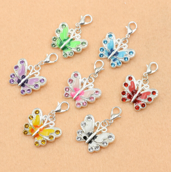 Mixed Silver Plated Enamel Crystal Butterfly Dangle Charm Bracelet Lobster Clasp Jewelry DIY Jewelry Findings 36x21mm